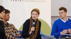Diskusijas dalībnieki: no kreisās - Baiba Zūzena (MTG), Ingus Bērziņš (Delfi), Sanita Jemberga (Re:Baltica) un diskusijas vadītājs Arnis Krauze.Foto: Jānis Buls